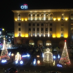 Christmas Festive in Sofia, Bulgaria, view from my balcony